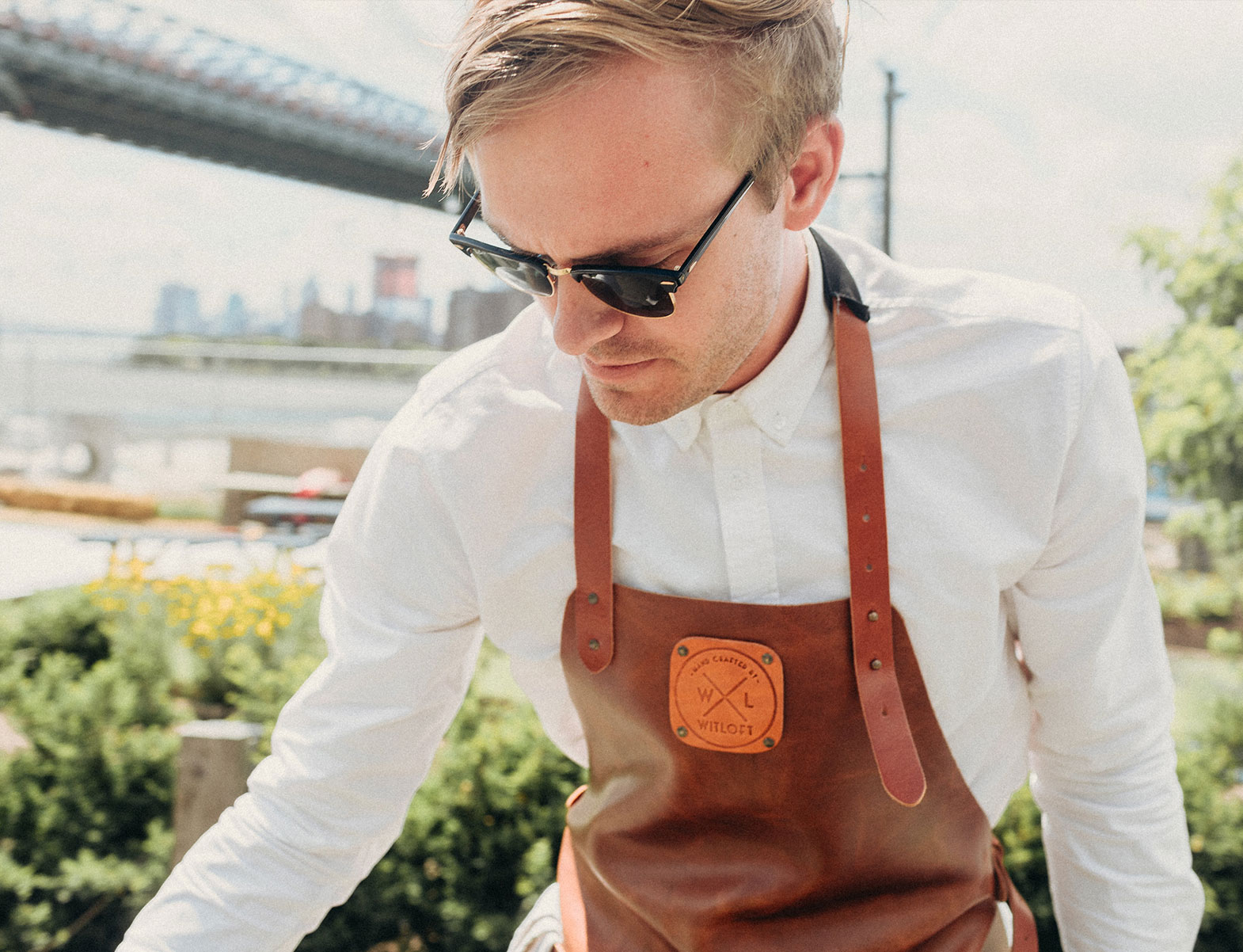WITLOFT Cooking in Brooklyn Story the chef wearing a Cognac Classic